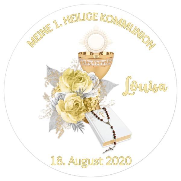 Tortenaufleger Kommunion KELCH & BIBEL I in Gelb & Silber mit Text