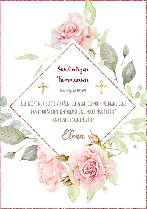 Tortenaufleger Kommunion BLÜTEN RAND & SCHMETTERLINGE I in Rosa & Lila mit Text