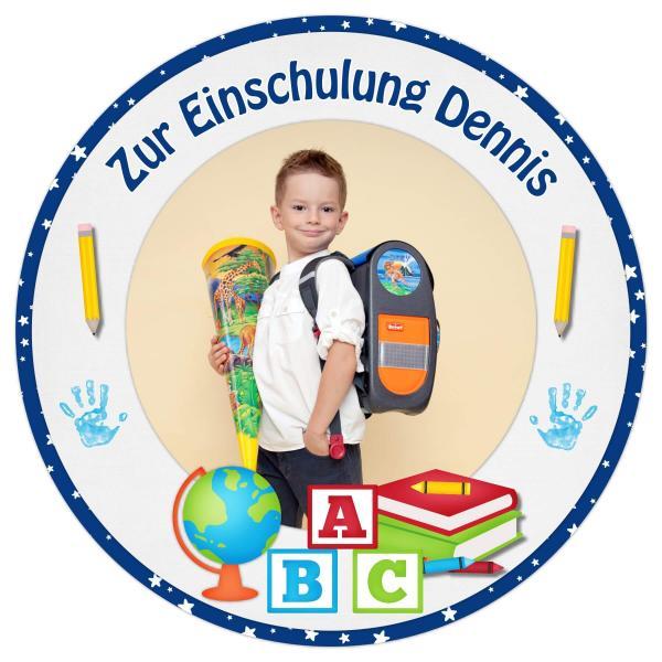 Tortenaufleger Einschulung SCHULBÜCHER GLOBUS I in Blau mit Text & Foto