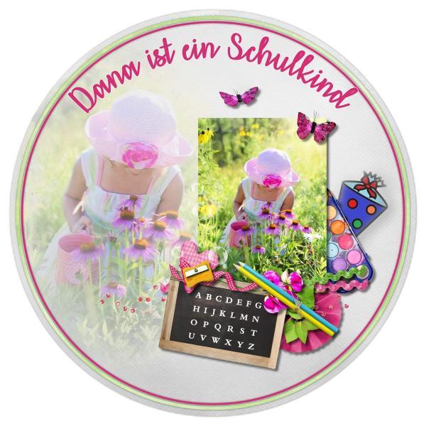 Tortenaufleger Einschulung SCHMETTERLING BLUMEN SCHULTAFEL I Rosa mit Text & Foto