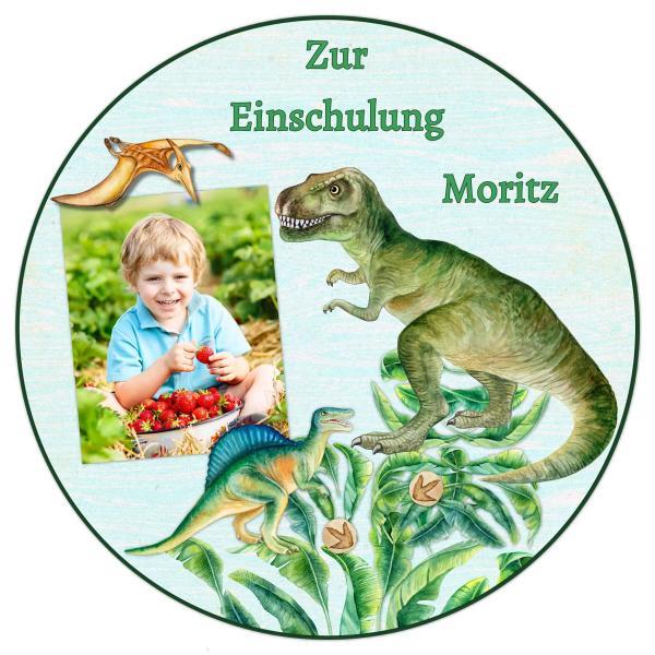 Tortenaufleger Einschulung DINOSAURIER I in Grün mit Text & Foto