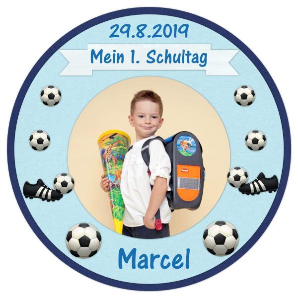 Tortenaufleger Einschulung FUßBALL I  in Blau mit Text & Foto