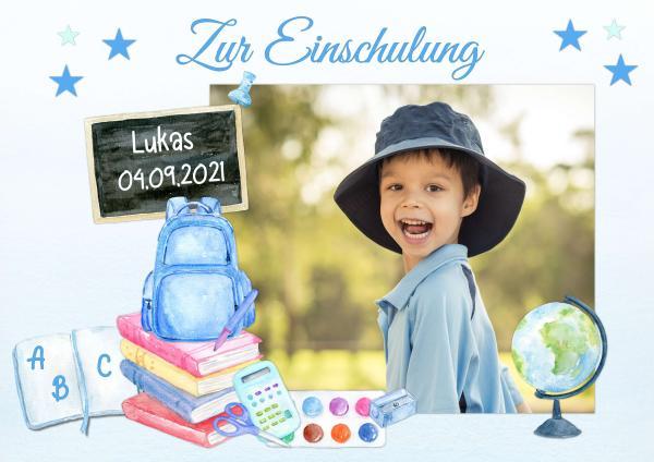 Tortenaufleger Einschulung SCHULTAFEL SCHULTÜTE I Blau mit Text & Foto 20x28