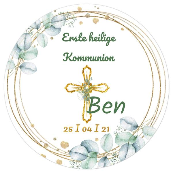 Tortenaufleger Kommunion EUKALYPTUS BLÄTTER & goldenen KREUZ I in Grün & Text